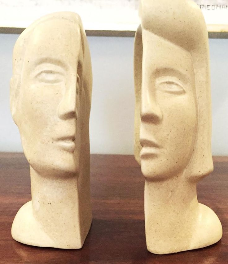 Peter Wright, Interlocking Male/Female Busts Sculpture