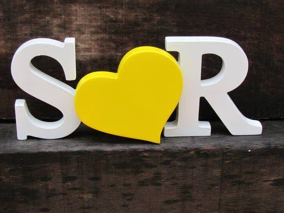 Letras para casamento AMARELO + coração