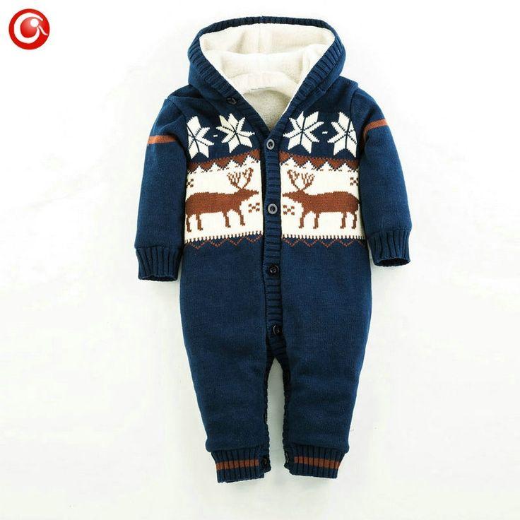 (31.82$)  Buy here  - 2016 Baby Winter Deer/Elk Christmas Rompers For Boys/Girls Newborn Infantil Thick Plush Jumpsuits Bebes Snowsuit Clothing