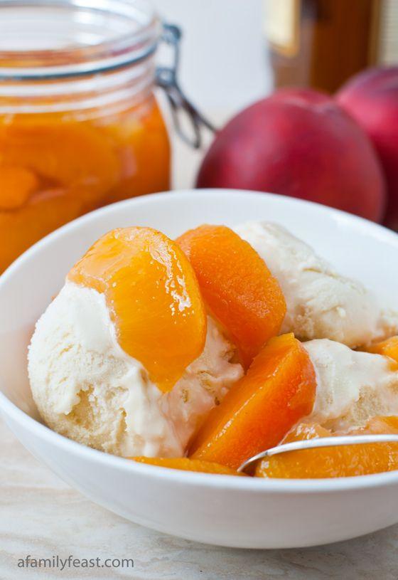 Bourbon Poached Peaches - A Family Feast