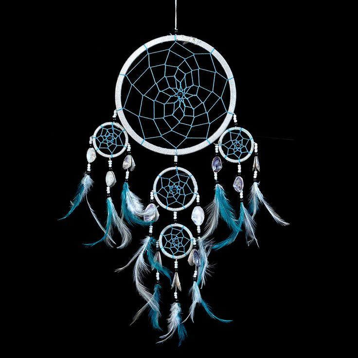"Dream Catcher ~ White & Blue String Handmade with Sea Shells 6.5"" Diameter & 20"" Long!"