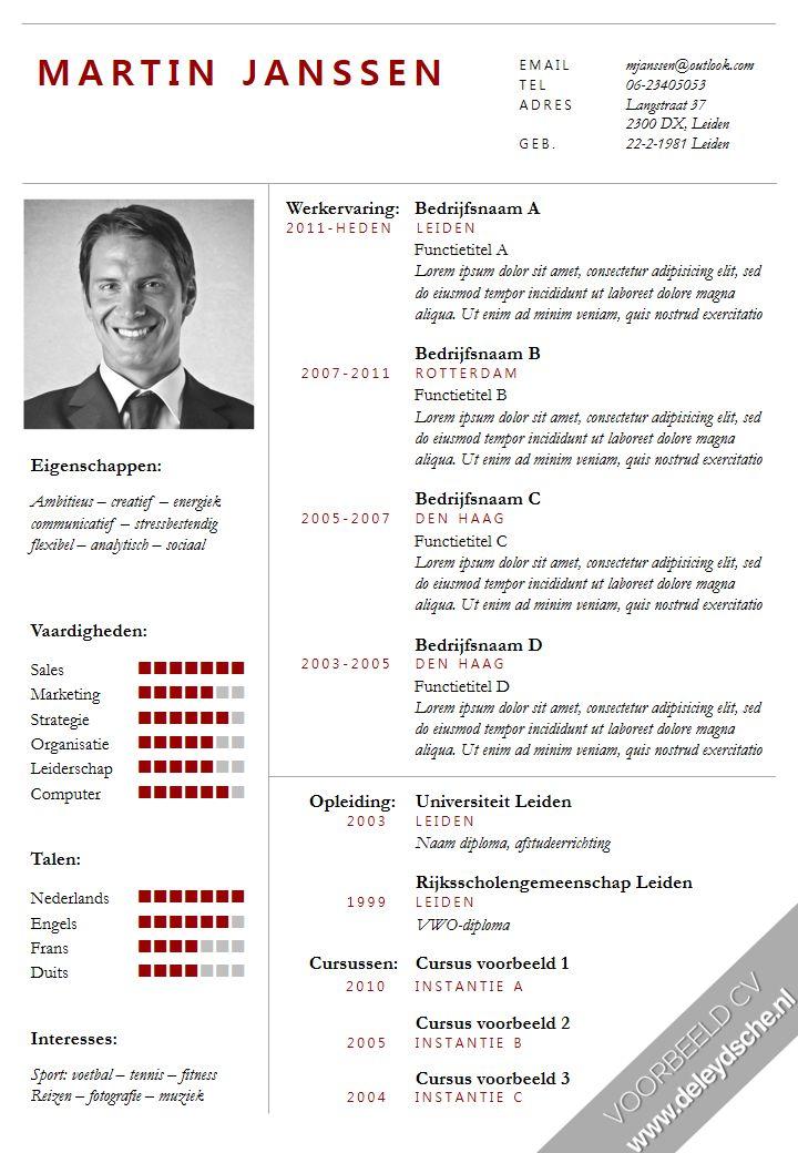 Formeel CV ontworpen door De Leydsche Curriculum Vitae advies en ontwerp. CV template in Word, inclusief volgpagina en bijpassend sollicitatiebrief template.