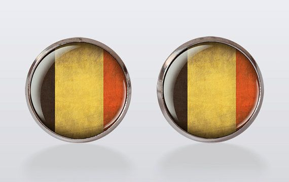 cufflinks Belgium flag cuff linksVintage Cuff Links by CuFFactory, $10.50