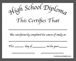 High School Diploma Template Doc 1