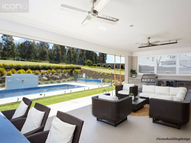 Modern outdoor area by the pool! #iconobuildingdesign #outdoor #living #pool #modern #summerstyle #australian #family #home