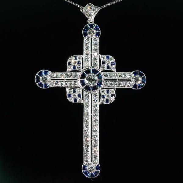 Art Deco sapphire diamond cross pendant, large: Diamonds Crosses, Crosses Necklaces, Deco Crosses, Crosses Pendants, Antiques Jewelry, Crosses Loaded, Art Deco Diamonds, Deco Sapphire, Deco Parties