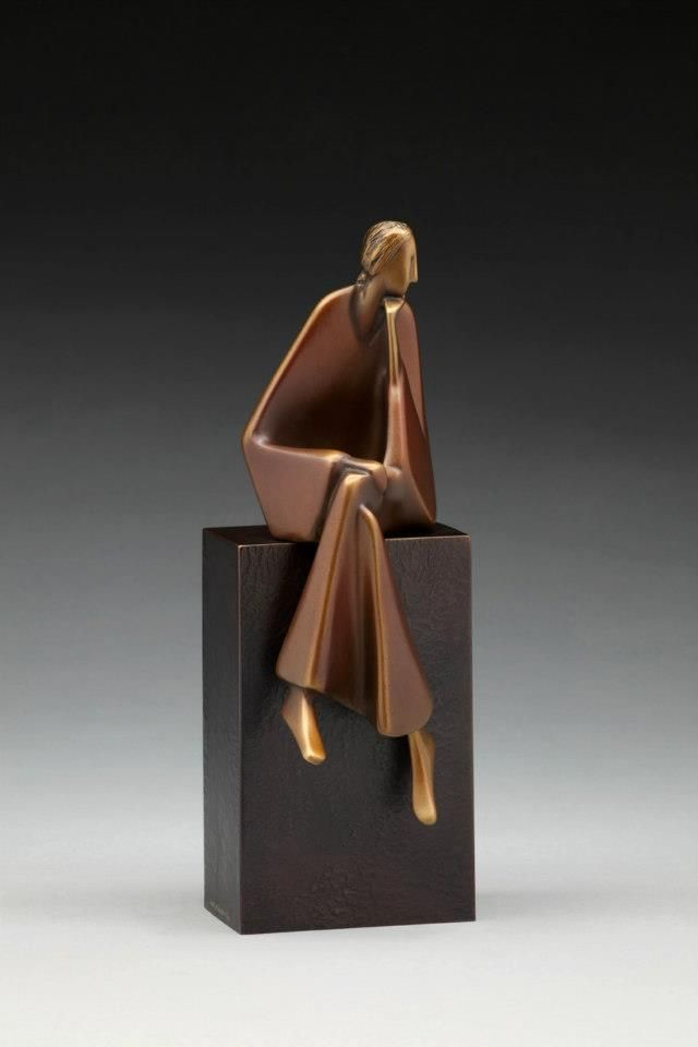 """Listening"" (2011), by Carol Gold. Bronze. Photo by Jafe Parsons."
