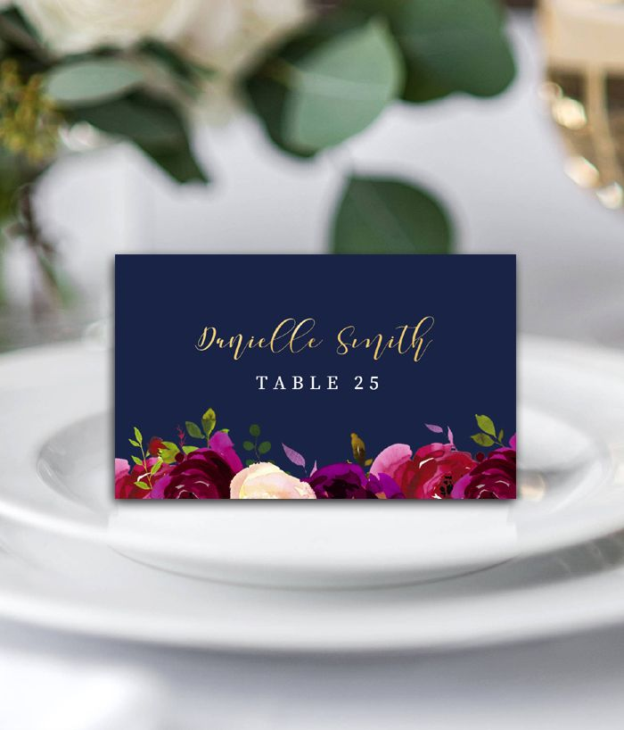 printable wedding place cards vintage%0A Editable Wedding Place Card Template  u     Navy Marsala Burgundy Gold  Watercolor Flowers  u     Instantly Personalize  u     Printable