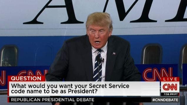 After nearly three hours of monotone droning by a bunch of sweaty old people who will almost certainly never be president, tonight's Republican debate finally delivered with a bizarre question about potential Secret Service names that produced incredibly absurd answers from every single candidate.