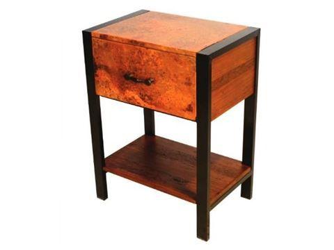Flat Iron Nightstand With Copper Panels And Iron Legs Besi Meja Minimalis