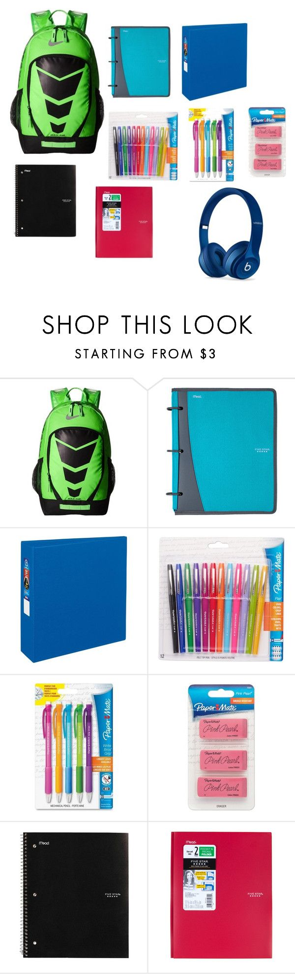 """""""boys school bookbag"""" by makailamcghee on Polyvore featuring NIKE, Mead, Avery, Paper Mate, Beats by Dr. Dre, men's fashion and menswear"""