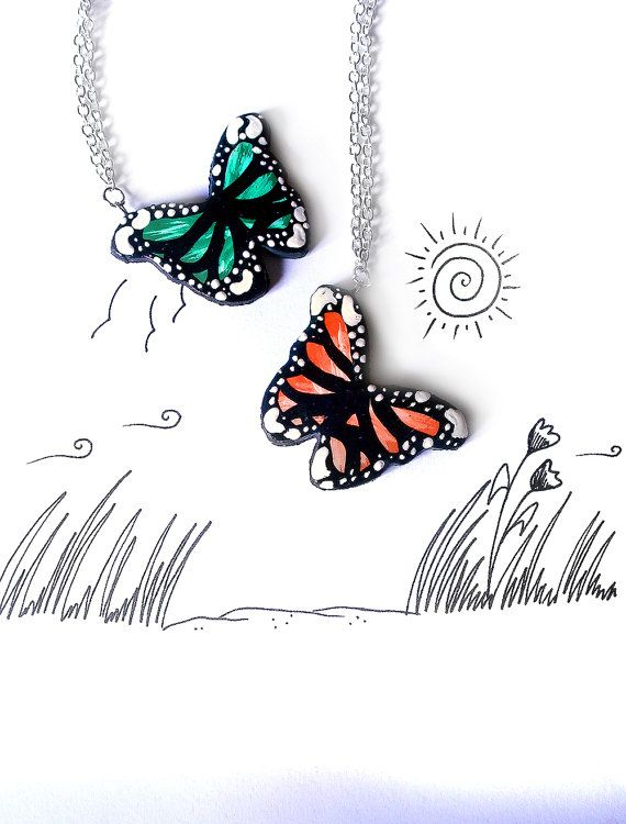Collana farfalla colorata collana per ragazza collana da