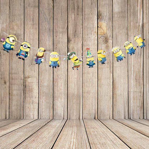 minion banner printable/minion bunting/ minion party supplies/