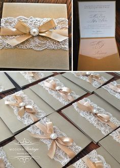 Champagne & Ivory Lace Wedding Invitation. I love the design but my ribbon would have to be a different color