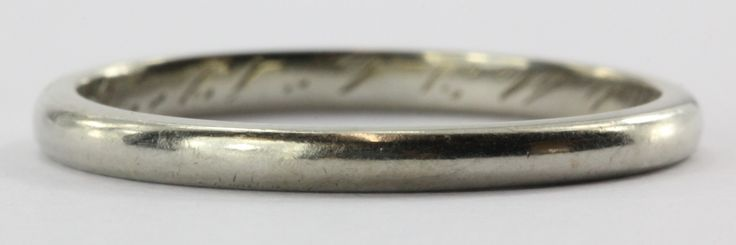 Antique 1926 18K White Gold Plain Wedding Band Ring Size 6 by Charles Levy of NY