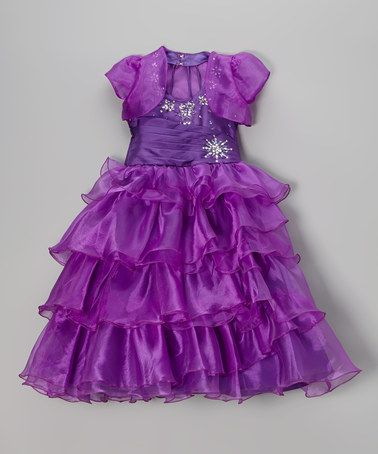 This Purple Floral Ruffle Dress & Shrug - Infant, Toddler & Girls by Angels New York is perfect! #zulilyfinds