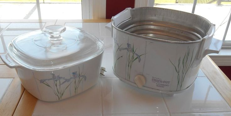 Corning Ware SHADOW IRIS 3 Qt. Rival Crock Pot Insert with Glass Lid #Corelle