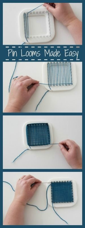 Beginning weaver? Pin looms are an easy, portable way to get started. Here's how to create a basic square! #pinloom #beginningweaver