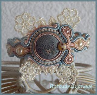 Csipkés virág sujtás karkötő - Lace flower bracelets soutache