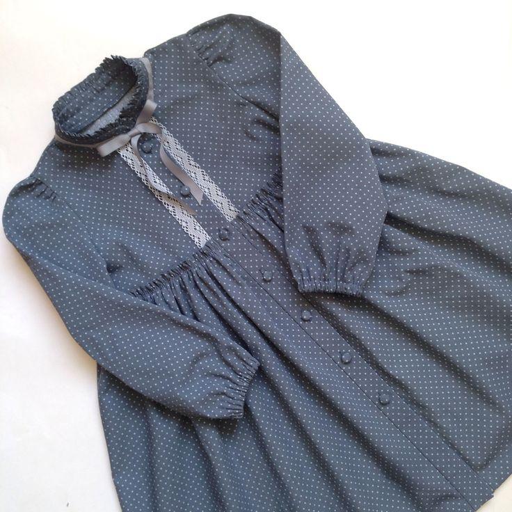 Купить Хлопковое платье в горошек. - платье, платье детское, платье с рукавами, платье с кружевом