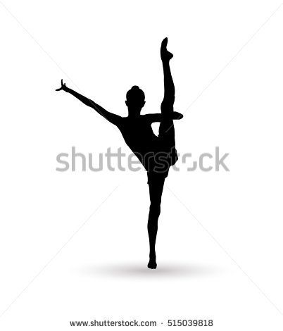 Gymnast Girl silhouette isolated on white background. Gymnastics banner. Olympic Gymnast woman. Vector ballet, ballet dancer, dancer, ballerina silhouette, fairy, fitness, gym gymnasium, yoga. Sport