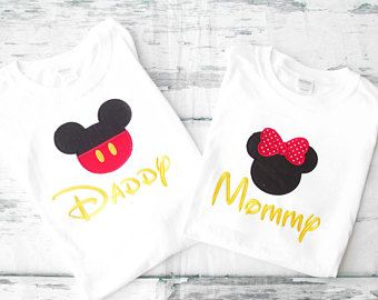 Mickey Minnie Mom y Dad juego camisas camisas de padres mamá y papá Mickey Minnie camisetas