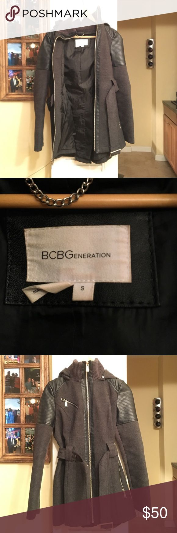 BCBGeneration jacket!! Grey zip up jacket with leather accents on the shoulders and sleeves. Super cute great for fall/winter weather. BCBGeneration Jackets & Coats Pea Coats