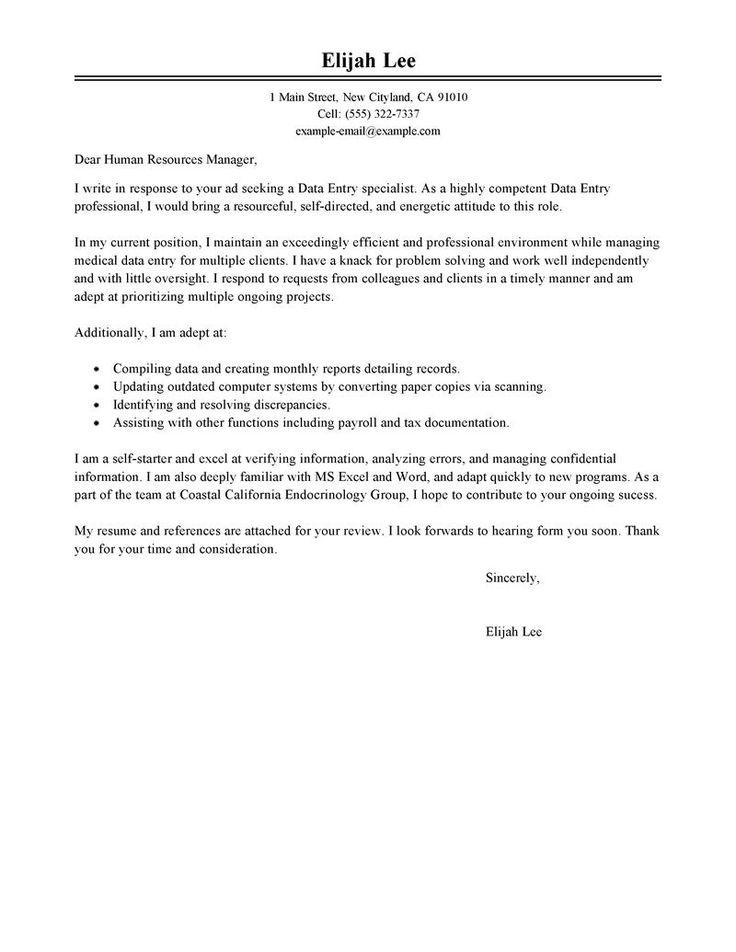 25+ ide terbaik Contoh resume profesional di Pinterest Riwayat - data entry cover letter