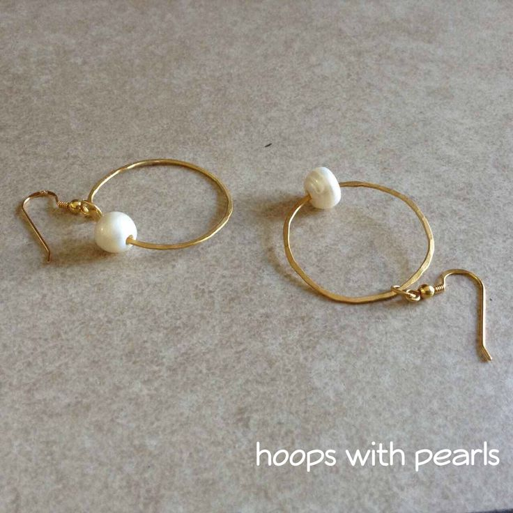 Gold plated sterling silver hoops with natural pearls Buy them here: https://www.etsy.com/listing/548629313/silver-925-hammered-hoops-with-natural?ref=shop_home_feat_1