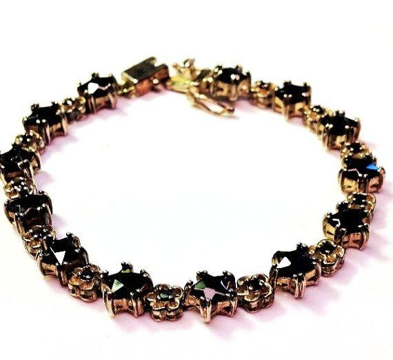 Vintage 925 sterling silver black onyx chain link bracelet by Emmalishop