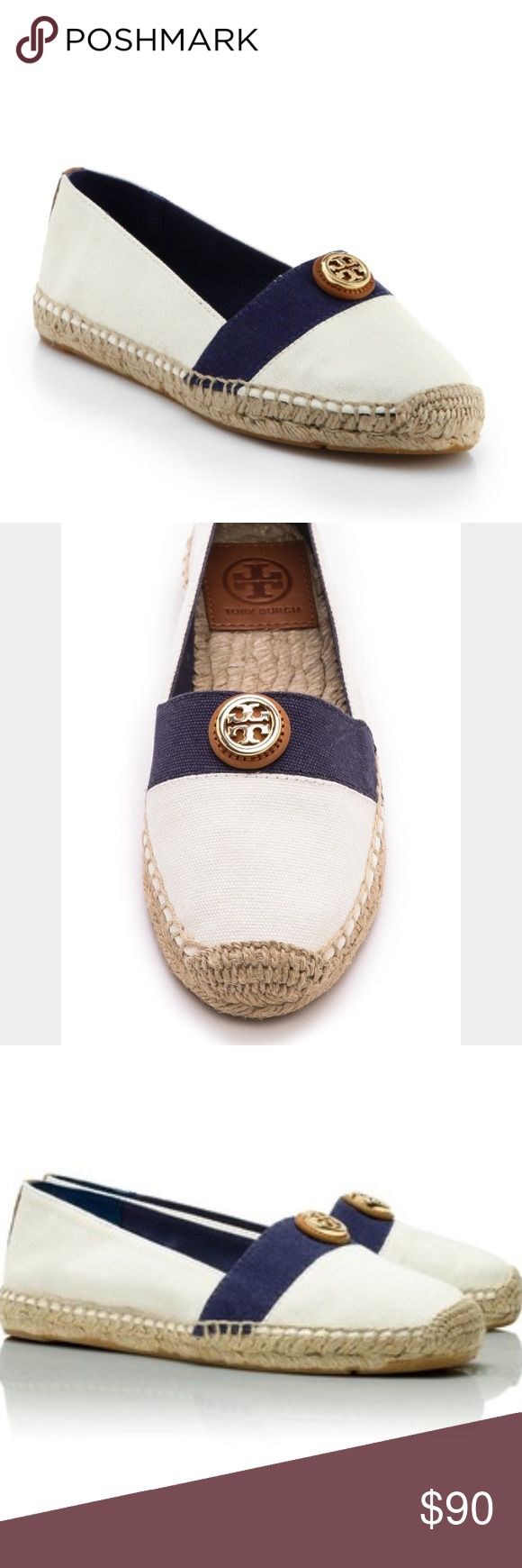 Tory Burch beacher flat espadrilles Condition: brand new. Box/no box: no box  Brand: Tory Burch. Size: 6 (please know your Tory Burch size before purchasing). Name: Beacher. Color: ivory, navy, tan. Style: espadrilles. Material: canvas.  The combination of white and blue on the upper is finished with tan-hued leather trims at back and top for a luxe touch. Team yours with airy cotton skirt or pants.  Textile upper. Textile lining. Jute insole. Rubber sole. Signature gold logo on top. Round…
