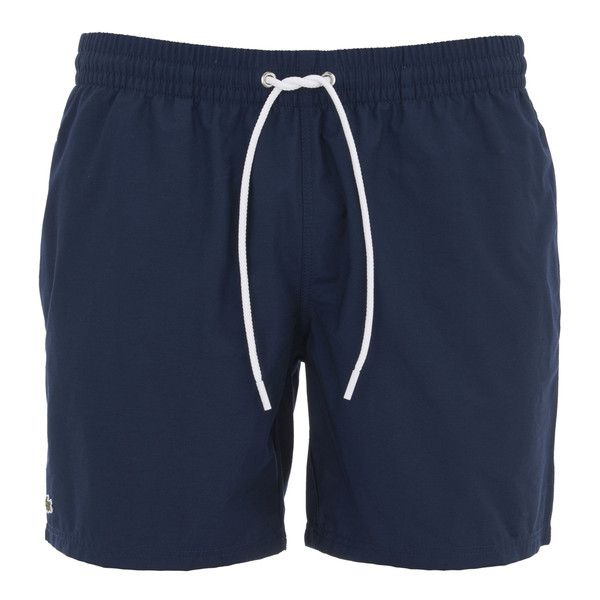 Lacoste Men's Classic Swim Shorts ($61) ❤ liked on Polyvore featuring men's fashion, men's clothing, men's swimwear, bottoms, pants, blue, lacoste mens clothing, lacoste mens swimwear, mens swimwear and mens clothing
