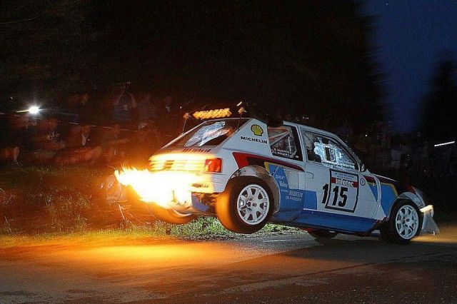 Pug 205 T16 Awesome Jump - Flames and Turbo Anti-lag - Eifel Historic Rallye - Germany
