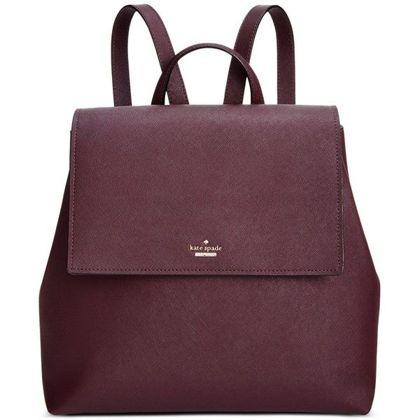 kate spade new york Neema Backpack (445 CAD) ❤ liked on Polyvore featuring bags, backpacks, mahogany, purple leather bag, leather bags, leather backpack, kate spade backpack and day pack backpack