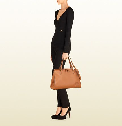 Gucci Gucci этикетки кожа большой коричневый тотализатор 338970 A7M0G 9822