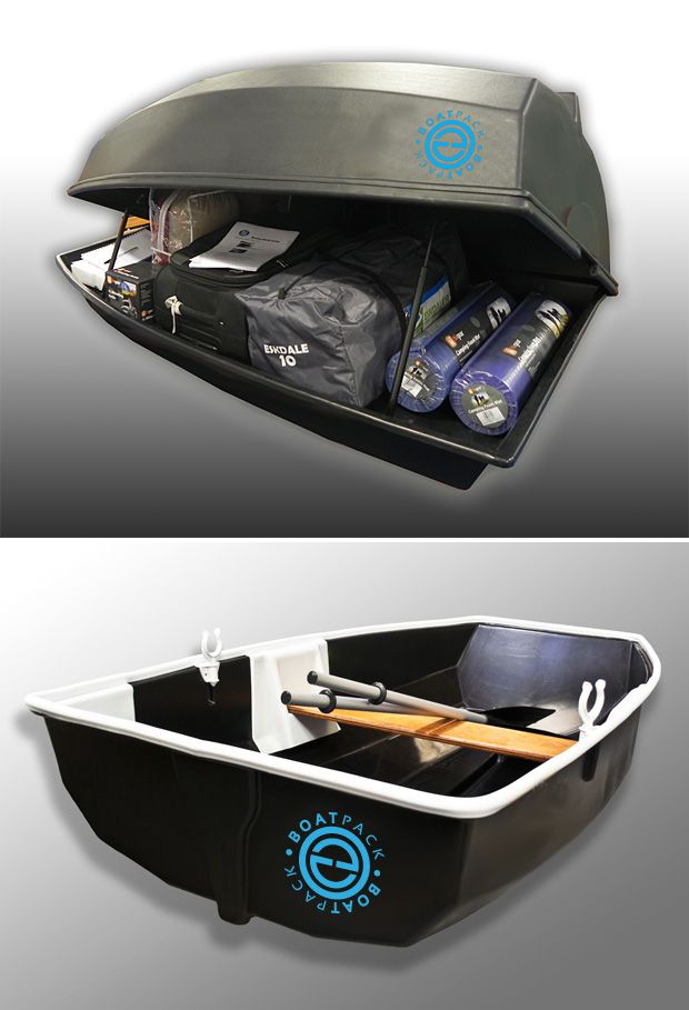 Boatpack.   You've got a boatload of toys and gear, so a 650-liter roofbox for the car makes perfect sense. And it does more than just carrying all your gear, the BoatPack converts into a little rowboat for two. You can even put a  little electirc outboard motor on there if you prefer that kind of motorboating.