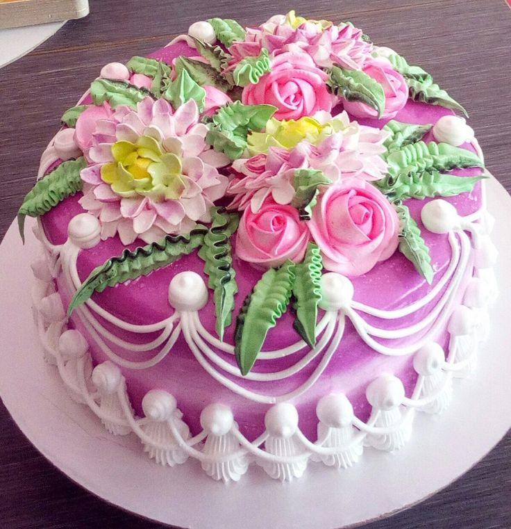 Красивые кремовые торты фото на день рождения
