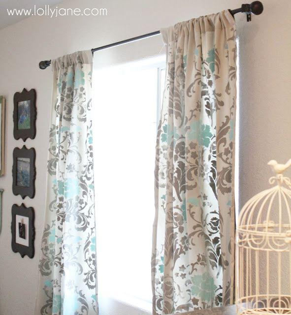 Stenciled drop cloth curtains