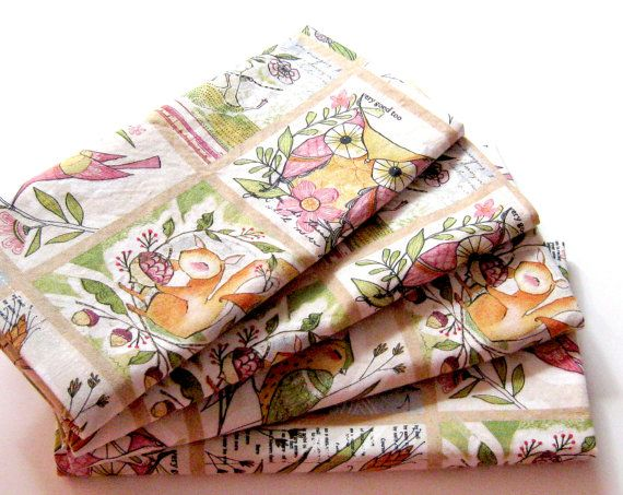 Cloth Napkins  Sets of 4  Pink Beige Green Yellow by ClearSkyHome