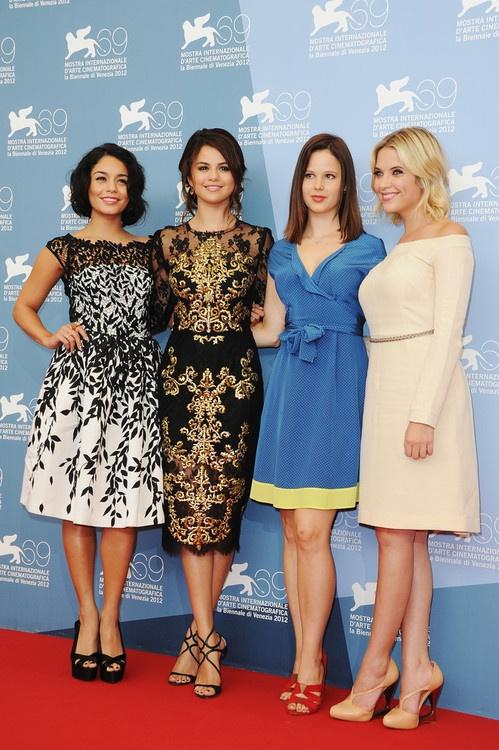 Vanessa Hudgens, Selena Gomez, Rachel Korine and Ashley Benson at the Venice Film Festival photocall for Spring Breakers, September 5th