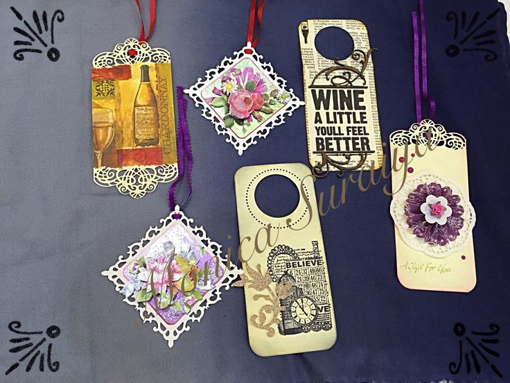 Wine bottle tags and 3D decoupage tags