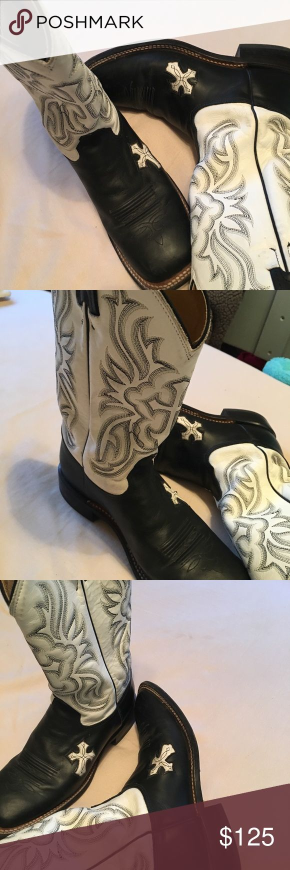 Tony Lama Boots Square toe. Does not come with box. Black and white Tony Lama Shoes Heeled Boots