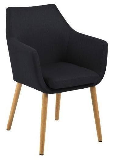 Amada+Spisebordsstol+-+Grå+-+Klassisk+og+smuk+spisebordsstol+i+mørkegråt+stof.+Stolen+har+behagelige+armlæn+og+står+på+elegante+olierede+egetræsben,+der+giver+stolen+et+vintage+look.