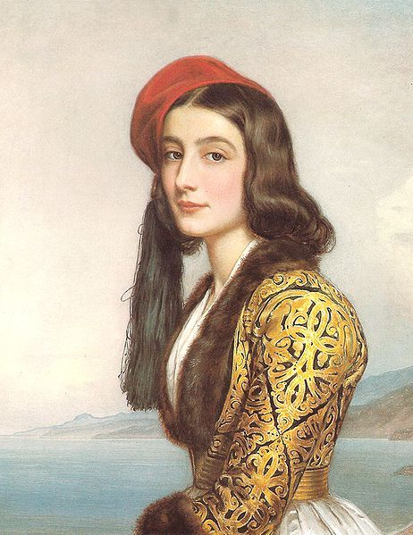 "Katerina ""Rosa"" Botzaris portrait by Stieler, 1841. Member of the Souliot Botsaris family (daughter of Greek independence hero Markos Botsaris), she was in the service of Queen Amalia of Greece."