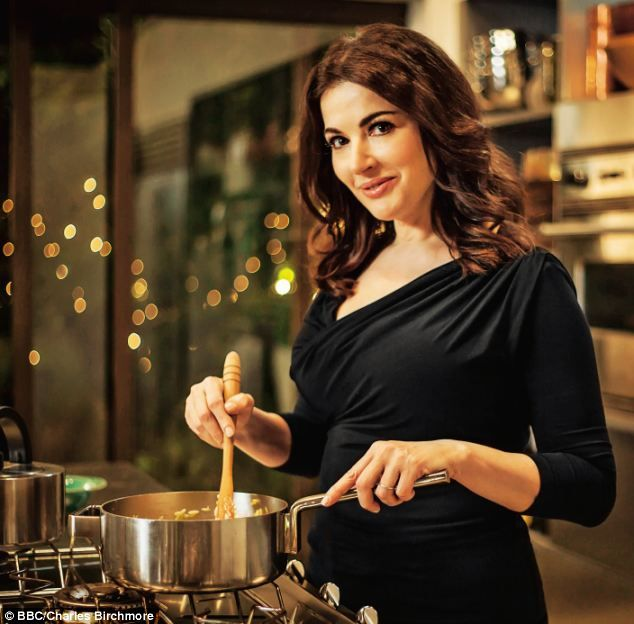 Slimline: Nigella Lawson shows off her slimmed down curves on her new cookery show Nigellissima