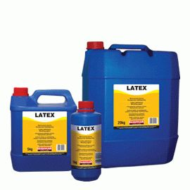 LATEX: Polymer latex. When added into the building mortars and coatings, it increases bonding to the substrate, provides water impermeability and elasticity. It is suitable for creating bonding layers, repairing mortars, floor screeds resistant to abrasion, waterproof cement mortars, mortars resistant to chemicals, plasters with high strength and water impermeability etc.