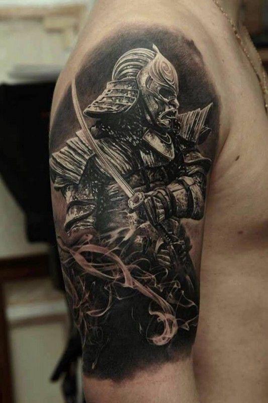 Cool japanese warrior tattoo by Dmitriy Samohin