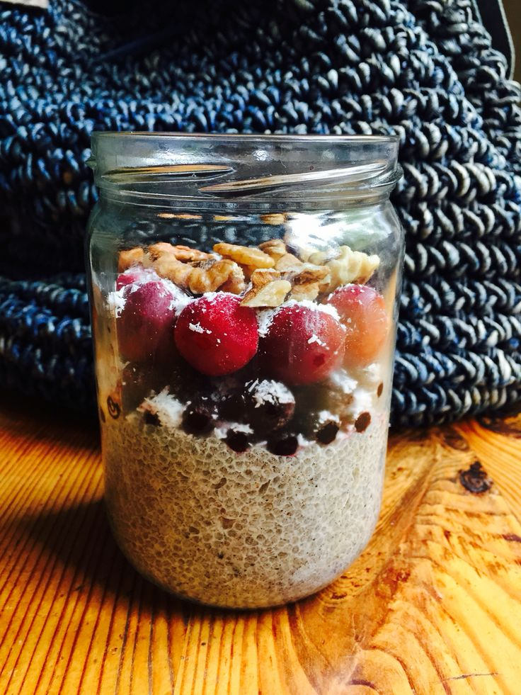 Coconut chia pudding with frozen berries