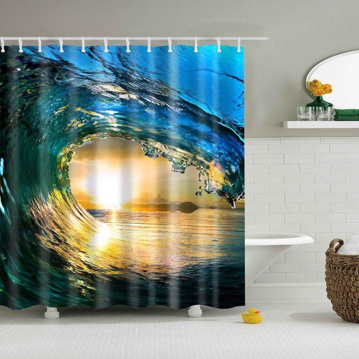 sea waves bath curtain sun printed cortina de chuveiro rideaux de douche new cortinas de bano de tela impermeable #Affiliate
