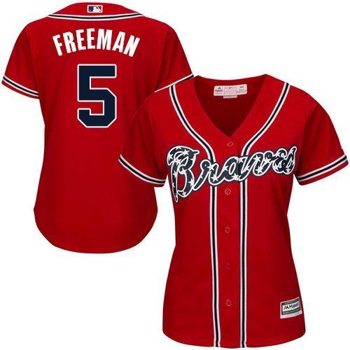 Freddie Freeman Women's Atlanta Braves Red Replica Alternate Cool Base Jersey